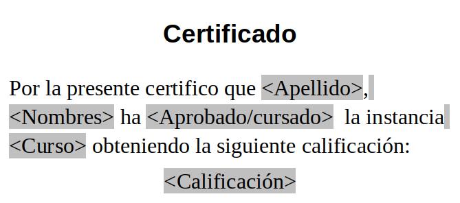 Texto del certificado con las variables insertadas